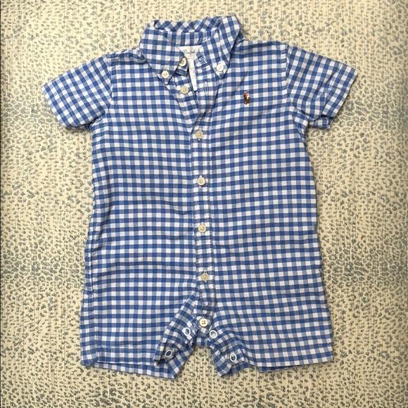 Baby 9 Months Ralph Lauren Polo Baby Boys Bear Gingham Shortall Romper Bodysuits